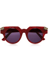 House Of Holland Fister V2 Round Frame Acetate Sunglasses Red