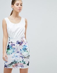 Ax Paris 2 In 1 Dress With Floral Skirt Cream