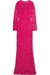 Dolce And Gabbana Crystal Embellished Corded Lace Gown Pink