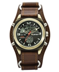 Unlisted Watch Men's Analog Digital Brown Leather Cuff Ul1138