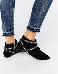 Asos Anna Wrap Around Strap Pointed Ankle Boots Black