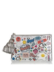 Anya Hindmarch Stickers Georgiana Large Leather Clutch Silver Multi