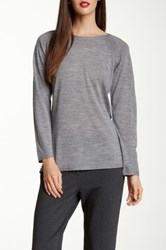 Eileen Fisher Crew Neck Merino Wool Pointelle Sweater Gray