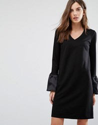Warehouse Satin Ruffle Cuff Shift Dress Black
