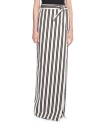 Striped Maxi Wrap Skirt Black White Black White
