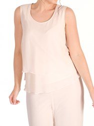 Chesca Wrap Back Layered Chiffon Top Blush