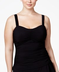 Gottex Profile By Plus Size Shirred Underwire Tankini Top Women's Swimsuit Black