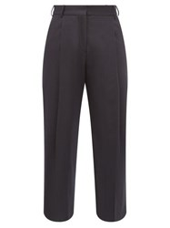 Margaret Howell High Rise Wool Flannel Wide Leg Trousers Navy