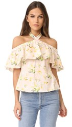 Rebecca Taylor Off Shoulder Firefly Floral Top Ballet Combo