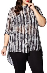 Mblm By Tess Holliday Plus Size Women's Back Slit Print Blouse