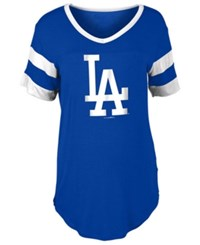 5Th And Ocean Women's Los Angeles Dodgers Sleeve Stripe Relax T Shirt Royalblue White
