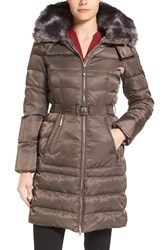 Vince Camuto Women's Belted Puffer Coat With Removable Faux Fur Trim And Hood Dark Taupe