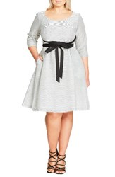 City Chic Plus Size Women's Ballerina Tie Waist Fit And Flare Dress