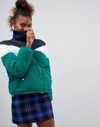 Bershka Chevron Padded Jacket Green