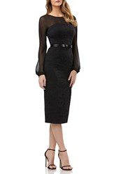 Kay Unger Chiffon And Lace Sheath Dress Black