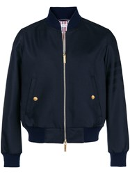 Thom Browne 4 Bar Sateen Stripe Blouson Jacket Blue