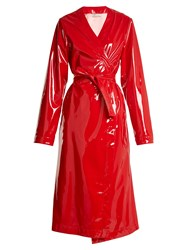 Attico Marla Belted Coated Trench Coat Red