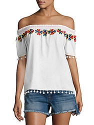 Christophe Sauvat Smoke Embroidered Cotton Top White