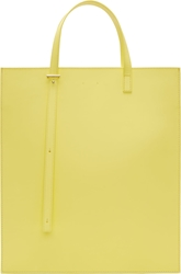 Pb 0110 Yellow Matte Leather Structured Tote Bag
