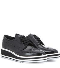 Prada Wingtip Leather Platform Brogues Black