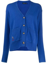 Polo Ralph Lauren Button Down V Neck Cardigan Blue
