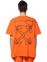 Off White Printed And Embroidered Cotton T Shirt Orange