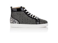 Christian Louboutin Men's Louis Orlato Flat Patent Leather And Snakeskin Sneakers Black
