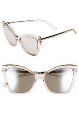 Women's Le Specs 'Naked Eyes' 56Mm Cat Eye Sunglasses Stone Silver Mirror