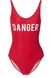 Adriana Degreas Danger Printed Swimsuit Red