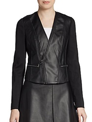 Bcbgmaxazria Knit Paneled Faux Leather Moto Jacket Black