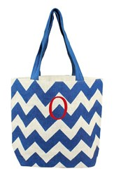 Cathy's Concepts Personalized Chevron Print Jute Tote Blue Blue Parchment O