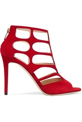 Jimmy Choo Ren Cutout Suede Sandals Red