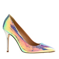 J.Crew Pre Order Roxie Iridescent Foil Pumps Wrinkle Iridescent Milk