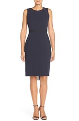 Donna Ricco Chiffon Back Crepe Sheath Dress Navy