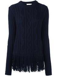 Tory Burch Cable Knit Jumper Blue