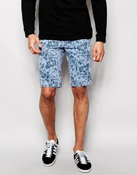 Blend Of America Blend Chino Shorts Slim Fit All Over Print Airblue