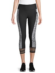 X By Gottex Striped Mesh Capri Leggings Peacock