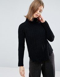 Native Youth Chenille Structured High Neck Jumper Black
