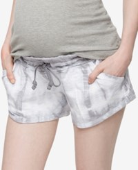 A Pea In The Pod Tie Dye Maternity Shorts Blue Grey Tie Dye