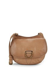 Frye Lucy Leather Crossbody Saddle Bag Beige