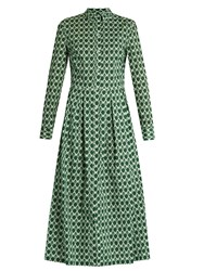 Stella Jean Dinamica Geometric Print Cotton Shirtdress Green