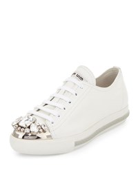 Miu Miu Jeweled Cap Toe Leather Sneaker Bianco