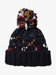 Fat Face Hand Stitched Pom Beanie Hat Navy