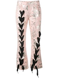 Marques Almeida Marques'almeida Lace Up Jacquard Trousers Women Cotton Polyester Acetate Metallized Polyester L Pink Purple