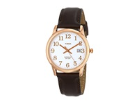 Timex Easy Reader Leather Strap Watch White Rose Gold Tone Brown Watches Black