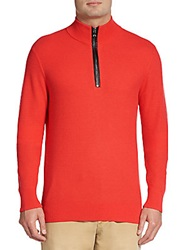 Michael Kors Tech Knit Zip Pullover Coral