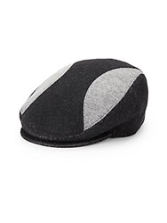 Saks Fifth Avenue Black Patchwork Newsboy Cap Grey