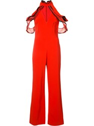 Jonathan Simkhai Ruffled Cold Shoulder Jumpsuit Red