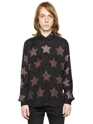 Saint Laurent Stars Print Cotton Blend Oversized Shirt