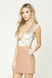 Forever 21 Faux Leather Mini Skirt Nude